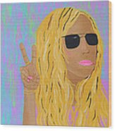 Peace Love And Pink Lipstick Wood Print