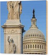 Peace Monument And Capitol Wood Print