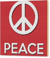 Peace Red Wood Print