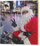Peace Santa Wood Print