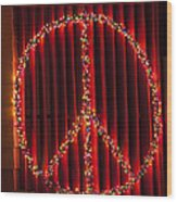 Peace Sign Christmas Lights Wood Print