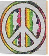 Peace Sign Fruits And Vegetables Wood Print