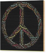 Peace Symbol - 0202 Wood Print by Variance Collections
