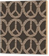 Peace Symbol Collage Wood Print