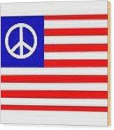 Peace Usa Flag Wood Print