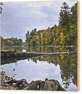 Peaceful Autumn Lake Wood Print