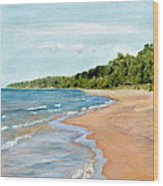 Peaceful Beach At Pier Cove Wood Print