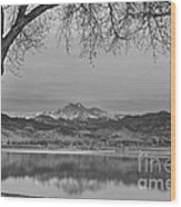 Peaceful Early Morning First Light Longs Peak View Bw Wood Print