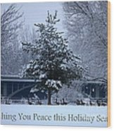 Peaceful Holiday Card - Winter Landscape Wood Print