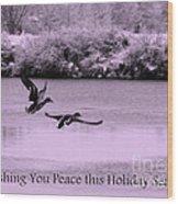 Peaceful Holidays Card - Winter Ducks Wood Print