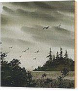 Peaceful Inland Cove Wood Print