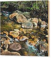 Peaceful Mountain Stream Wood Print