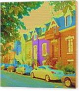 Peaceful Painted Pastel Rowhouses Printemps Plateau Montreal Scene Du Rue Carole Spandau Wood Print