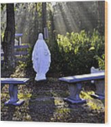 Peaceful Place To Pray With Mary Wood Print