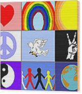 peaceloveunity Mosaic Wood Print