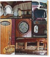 Peacemaker Bus Collage Wood Print
