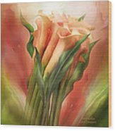 Peach Callas Wood Print
