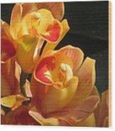 Peach Cymbidium Orchid Wood Print