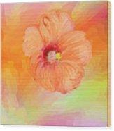 Peach Hibiscus Wood Print