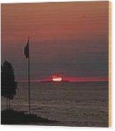 Peach Point Sunset Wood Print