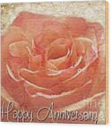Peach Rose Anniversary Card Wood Print