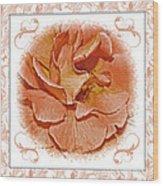 Peach Rose Sqrare Digital Paint Wood Print