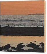 Peach Sunset On The Beach Wood Print