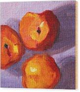 Peach Trio Wood Print