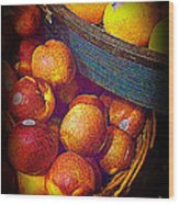 Peaches And Citrus With Blue Wooden Basket Wood Print