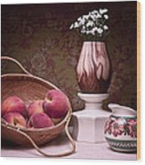 Peaches And Cream Sill Life Wood Print by Tom Mc Nemar