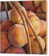 Peaches In Wicker Basket Wood Print