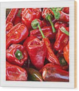 Peaches Peppers Peppers - Landscape Wood Print