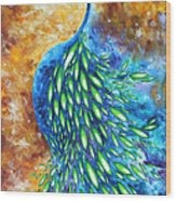 Peacock Abstract Bird Original Painting In Bloom By Madart Wood Print