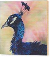 Peacock And Pink Wood Print by DerekTXFactor Creative