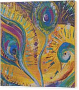 Peacock Dreams Wood Print
