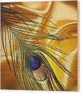 Peacock Feather Wood Print by Jelena Jovanovic