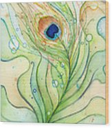 Peacock Feather Watercolor Wood Print