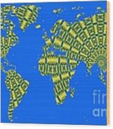 Peacock Feather World Map Wood Print