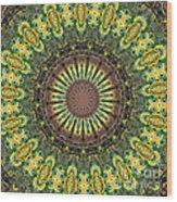 Peacock Feathers Kaleidoscope 7 Wood Print