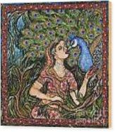 Peacock Girl Wood Print