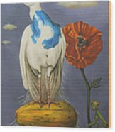 Peacock On A Papaya Wood Print