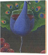 Peacock Pinot Wood Print by Debbie McCulley