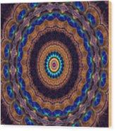 Peacock Pinwheel Wood Print