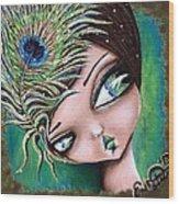 Peacock Princess Wood Print
