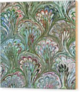 Peacock Shell Pattern Abstract Wood Print
