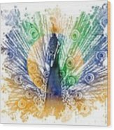 Peacock Splash Wood Print