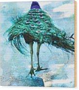 Peacock Walking Away Wood Print