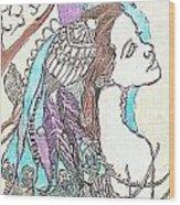 Peacock Woman 2 Wood Print