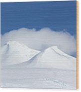 Peaks In The Clouds Wood Print by Ginny Barklow