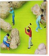 Peanut Workers Little People On Food Wood Print